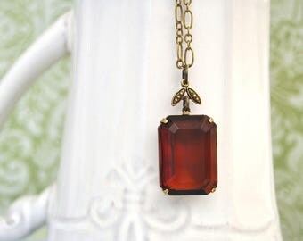 FRENCH VINEYARD. deep wine color  vintage glass jewel necklace in antique brass