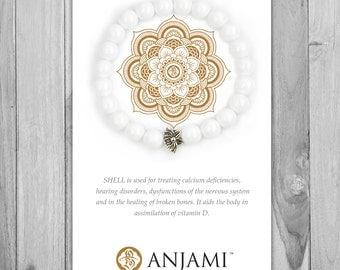 SHELL STONE,Mala Bracelet,Beaded Bracelet,Wrist Mala,Yoga Bracelet,Yoga Jewelry,Inspirational,Gemstone Bracelet, Healing Jewelry