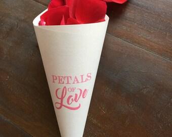 Wedding Rose Petal Cones, Flower Cones, Confetti Cone, Metallic Paper Wedding Cones, Petal Toss Cone