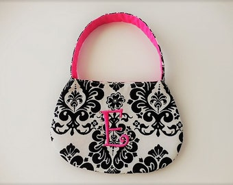 Toddler and little girl purse pocketbook black and white damask and hot pink with  embroidery initial