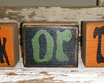Halloween Trick Or Treat Blocks Set Of 3 Orange & Black Shelf Sitter Wood Blocks