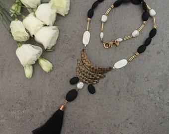 Trendy Long Black, Gold, White Beaded Tribal Tassel Necklace with Metal, Matt Beads, Shell & Black Long Tassel, Gift for Her, Modern Tribal