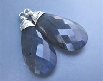Labradorite Briolette Sterling Silver Wirewrapped Pair