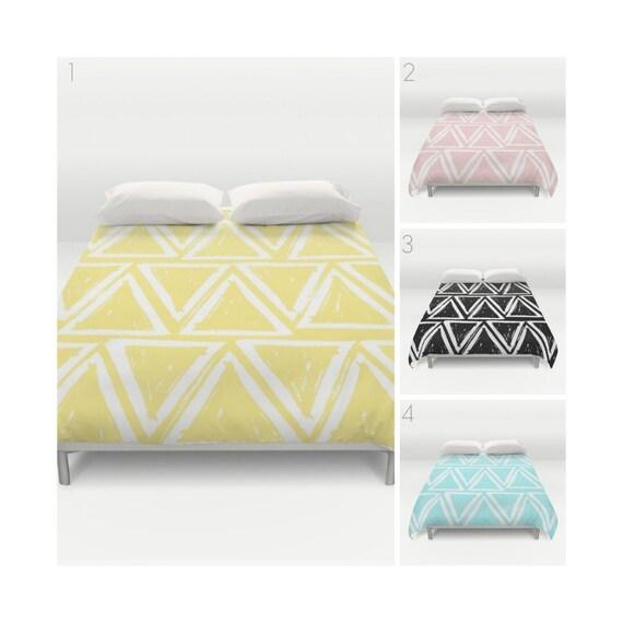 Modern Duvet Cover . Black and White duvet cover . Twin XL bedding . Blush Pink duvet . queen duvet . king duvet . Triangle bedding set