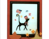 Mr. Patriotic Black Cat Red White Blue Flag Top Hat Neck Ribbon Stars Fireworks July Fourth Counted Cross Stitch Craft Pattern Leaflet SG-21