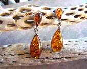 Sterling Silver & Amber  Teardrop Post Back Earrings