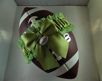 Football Toss Garter Lime Green Bow Lime Organza Football Charm Wedding Accessories Football Band ( Football not included)