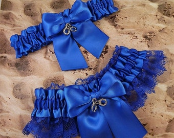 Police Officer Royal Blue Satin royal Blue Lace Handcuff Charm Wedding Bridal Garter Toss Set