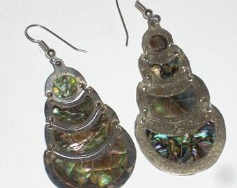 Sterling Silver Abalone Shell Dangle Earrings Alpaca Mexico