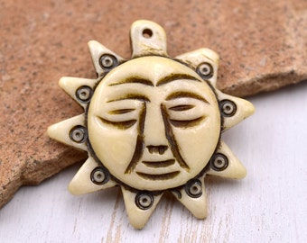Sun Bone Pendant,  1pc,  32mm x 34mm,  Carved Bone Sun, Hemp Pendant - P67