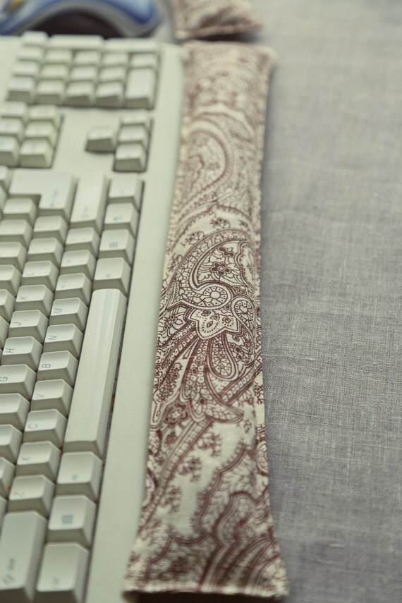 Organic Ergonomic Computer Keyboard Wrist Rest and Mouse Support Pillow set with Lavender or Peppermint. In Paisley linen. Non washable.
