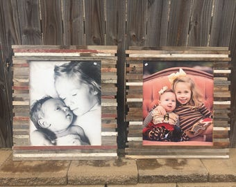 """ON SALE and Ready to Ship: 20x24"""" Pieced Reclaimed Rustic Wood Picture Frame"""
