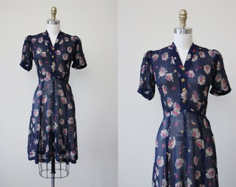 1930s Dress - Vintage 30s Dress - Navy Sheer Floral Print Swing Puff Dress w Novelty Glass Stars M L - Seeing Stars Dress