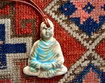Buddha necklace  zen pendant yoga enlightenment prosperity with a leather cord