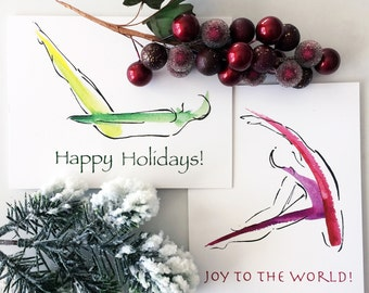 Yoga and Pilates Holiday Cards   Yoga gifts, Pilates gifts, Holiday cards, christmas cards, yoga teacher card, pilates teacher card