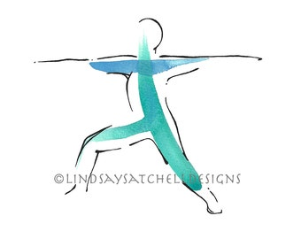 Warrior 2 Pose - Yoga Art Print | Yoga Gifts, Yoga Studio Decor, Yoga Inspiration, Inspiration Gifts, Gift, Inspiration Art