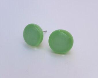 Mint Green Fused Glass Stud Earrings