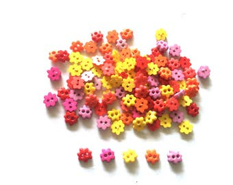 100 pcs  Cute flower buttons size 6 mm red pink yellow orange purple