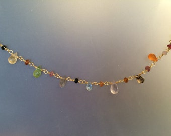 Gold Vermeil and Various Gemstone briolette necklace, garnet, citrine, aquamarine, peridot, wire wrapped, fine jewelry, gold filled