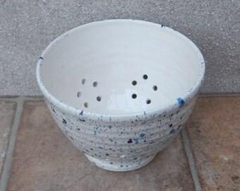 Berry bowl or colander hand thrown ceramic pottery handmade wheelthrown