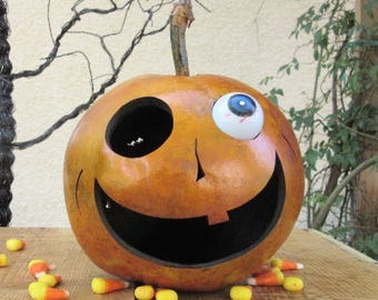 Halloween Gourd Jack O Lantern Primitive Pumpkin Decoration ( with removable eye )