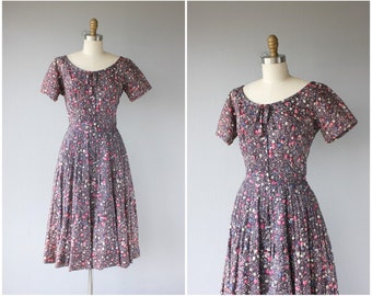 1950s Party Dress | 50s Dress | 50s Party Dress | 1950s Printed Dress | Purple and Pink 1950s Dress