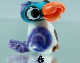 Goofy Love parrot Lampwork bird bead