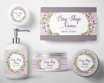 SALE 30% OFF Soap Label - Soap Packaging - Soap Wrapper - Cosmetic Labels -  Printable Label Design - Product Labels - Purple Floral 100-16