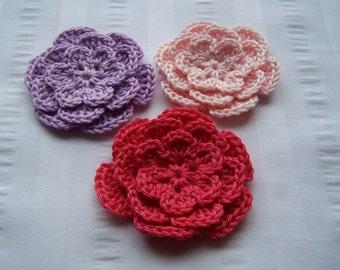 Flower crochet motif 2.5 inch cotton embellishment light pink hot pink violet