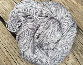 Hand Dyed Sock Weight Yarn Pieces of Eight Silver Gray grey Hand Painted sock yarn 463 yards hand dyed fingering superwash merino nylon swm