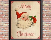 Vintage Santa Art Print Merry Christmas Antique Style Primitive Wall Decor Home Office Wall Hanging Digital Image Printable Holiday