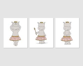 Hippo Nursery Art -- Hippo Ballerina Princesses -- Girl Nursery Art -- Set of 3 Prints -- C2