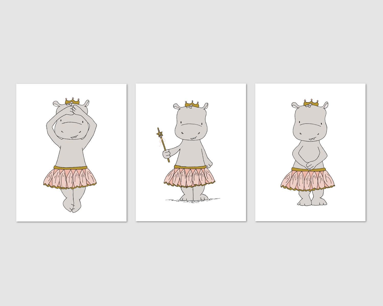 Nilpferd-Kinderzimmer-Kunst Hippo Ballerina Prinzessinnen