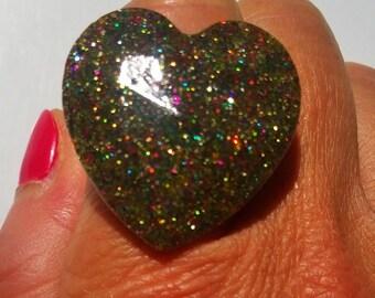 Multi colored glitter heart ring
