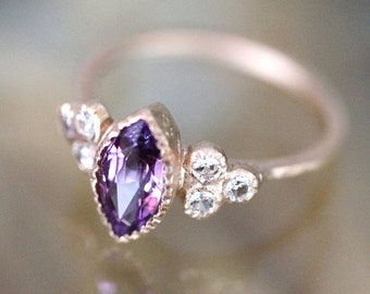 Holidays Sale - Purple Pink Sapphire 14K Rose Gold Ring, Gemstone Ring, Stacking Ring, Birthstone Ring, Eco Friendly - Ship In The Next 9 Da