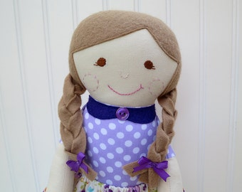 Rag Doll Light Brown Hair Brown Eyes Cloth Doll Ready to Ship