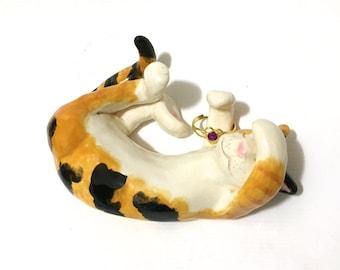 Calico Cat Ring Holder, Sleeping Cat Sculpture
