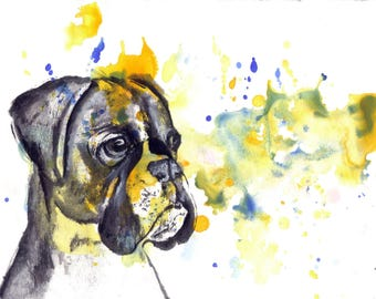 Custom Pet Portrait Painting Custom Dog Portrait Your Favorite Anything in a Splash of Color Dog Boxer Painting Print