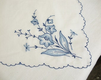 Vintage Blue Flowered with Scalloped Edge Hanky