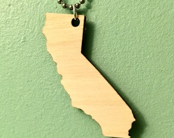 California Necklace in Birch Wood, Lasercut Wooden State Necklace