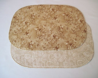 Tan Lily Oval Placemats Reversible Set Of 4 Or 6 Beige Paisley Placemats  Oval Neutral Placemats