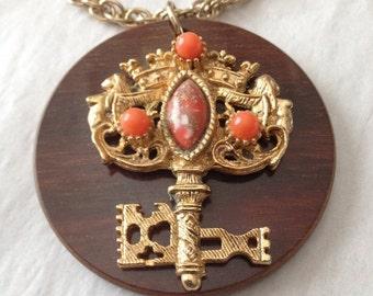 SALE Key Necklace Ornate Wood Circle