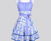Flirty Chic Apron , Floral in Spring Shades of Lavender Purple and Denim Blue Two Layer Sexy Skirt Rockabilly Sexy Retro Womens Apron