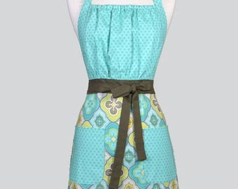 SALE Cute Kitsch Womens Apron / Modern Aqua Tone on Tone Retro Vintage Style Chef Kitchen Cooking Apron with Pockets and Adjustable Neck