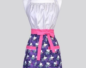 SALE Cute Kitsch Womens Apron / Purple and Gray Swans and Pink Water Lilies Feminine Vintage Style Kitchen Cooking Apron with Pockets