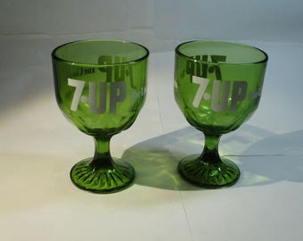 Vintage 7UP Green glass Thumbprint  Goblets, a pair, great condition