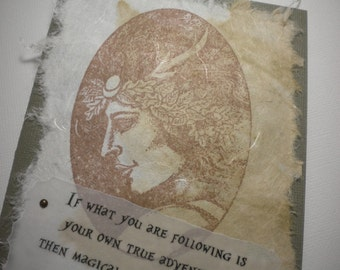 MYTHOLOGICAL GUIDE ~ Mixed Media Collage Art Card, inspirational quote by Joseph Campbell