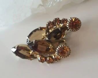 Vintage Topaz Color Rhinestone  Clip Earrings