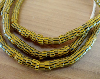 Vintage Seed Beads- Trade Beads- African- Rare- Yellow with Black Stripes   #J5