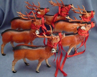 Celluloid Reindeer Herd Christmas Bells Rhinestone Eyes Tax Stamp Vintage Japan